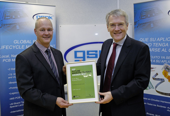 Receiving the awards GSPK Circuits Operation Director, Martyn Gibson with Andrew Jones MP