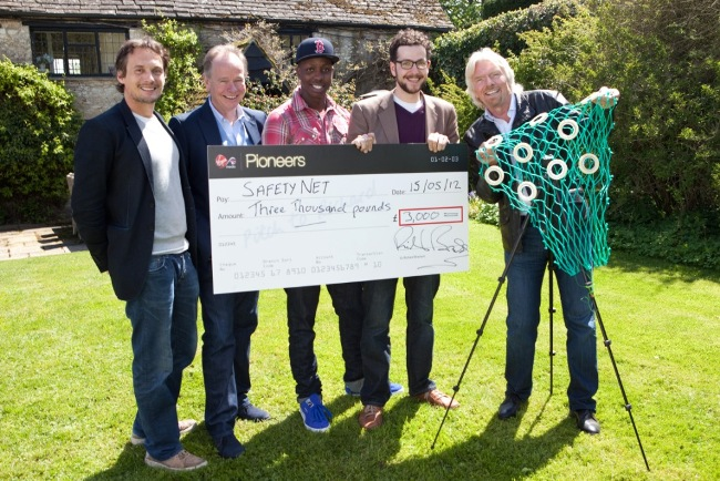 Winner Dan Watson with judges Richard Branson, Nigel Gilbert, our EX-CMO, Jamal Edwards of SBTV and Richard Reid of Innocent Drinks