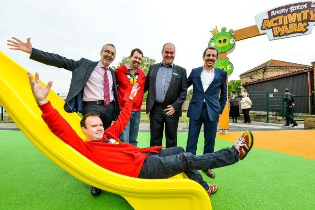 R James Berresford (CEO Visit England), Dan Mitchell (Rovio), Chris Jones (Lappset), Allan Leech (CEO Lightwater Valley) on slide Peter Vesterbacka 'The Mighty Eagle'