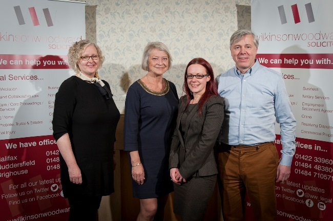 Kate Adie OBE (second from L) with (L-R) Maureen Cawthorn Laura Kurowski and Jon Dyson from Wilkinson Woodward ( image credit - Jonathan Jacob Photogra