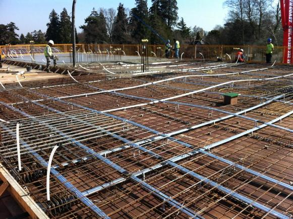 CCL - post-tensioning ducts ready for concrete to be pored over