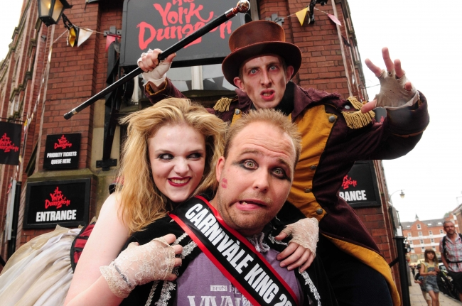 Madam Caroline and Ringmaster Walter with Carnivale King Andy Harrison