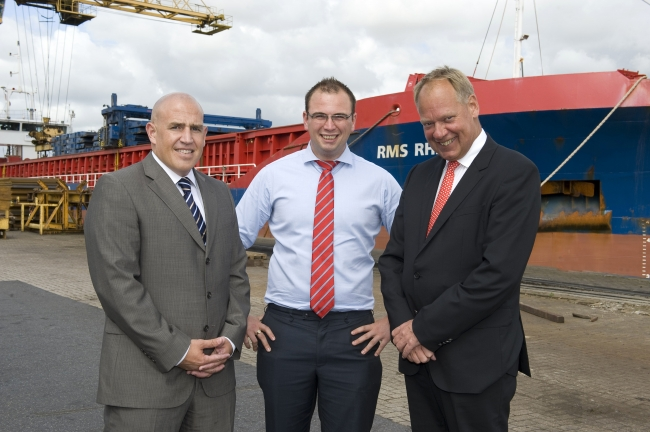 Chief Executive Peter Aarosin, right, with new recruits to the RMS management team, David Allen, left, and Craig Hodgson, at Goole Docks