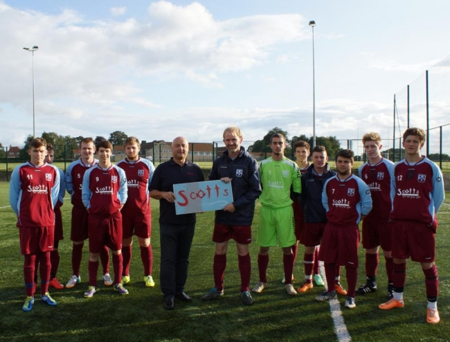 Scotts owner Tony Webster (left) with Tommy Garbutt and the Duncombe park FC squad