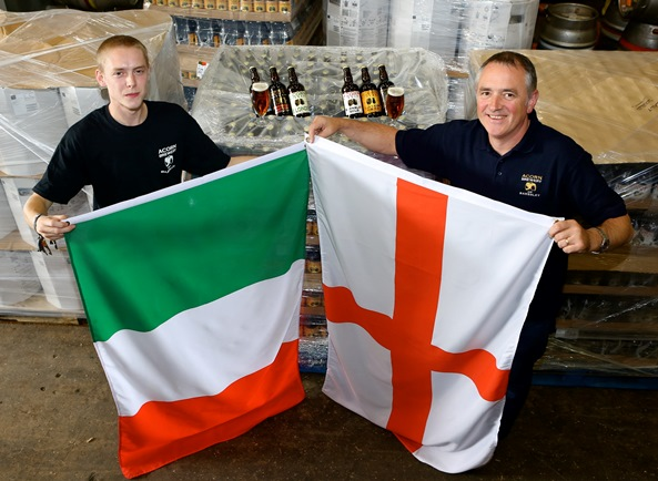 Brewer Bruce Woodcock and brewery owner Dave Hughes with the Italian order packed and ready to go