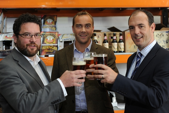 Chris France and Mark Roberts, directors of Beer Hawk with Henry Erdozain from Carter Jonas