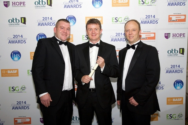 (l-r) Cidon's Stephen Auton, operations director Steve Simpson and Rob Smith at the Concrete Society Awards