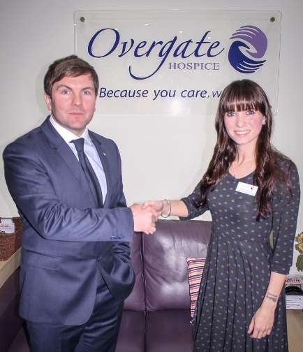 Caravan Guard Managing Director Ryan Wilby congratulates Sarah Clarkson on her new role
