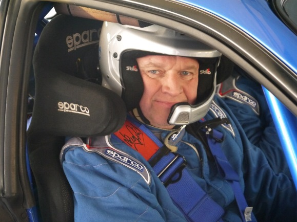 David White behind the wheel of his Subaru Impreza