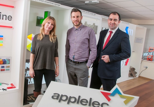 L to R - Sam Armstrong (sales director at Applelec), Carl Eastwood (marketing director at Applelec) and Ben Kimball (relationship manager at Lloyds Bank Commercial Banking)