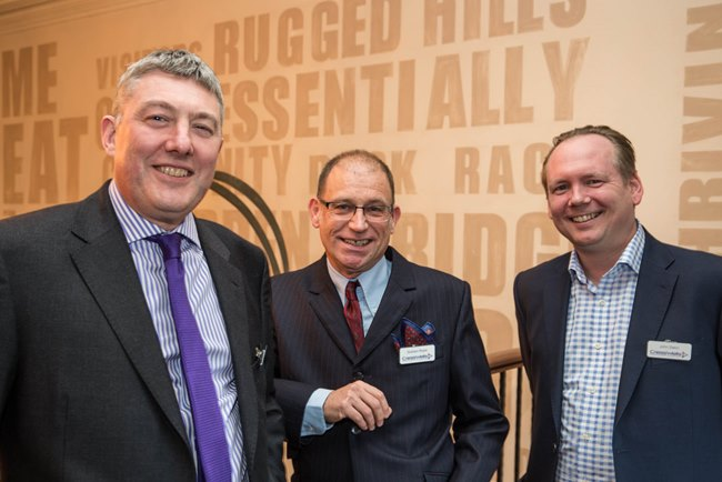 L-R Cresswells partners Paul Vine Graham Roper and John Dakin prepare to welcome guests to their 125 year celebrations