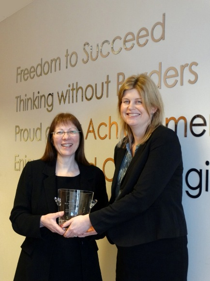 L-R Diane Cheesebrough recieving her award from Karen Milner