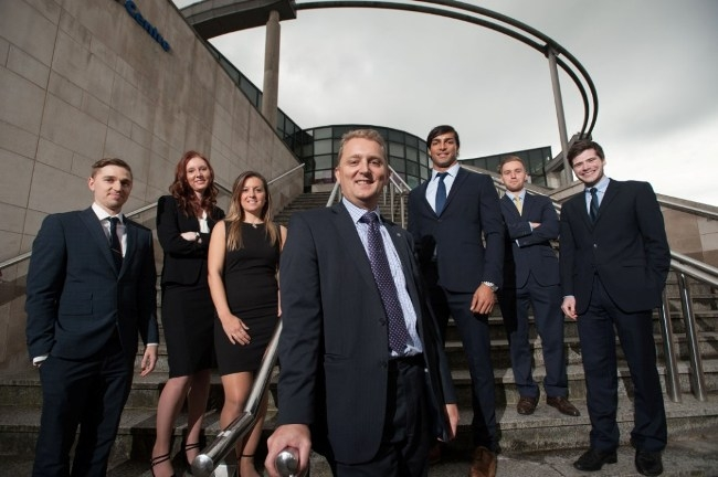 New trainee solicitors at hlw Keeble Hawson. L-R: James Redshaw, Sherelle O'Brien, Emily King, Giles Shearby (partner), Shazad Yasser, Chris Thornton, Chris Dalby.