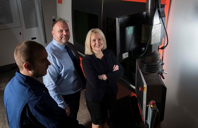 Andrew Richards and Sarah Gwynne with AET's new equipment