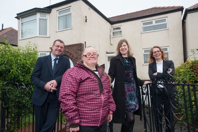 L-R: Andy Croft (Key Fund), Samantha Taylor, Carole Ainscough (Step Up Support) and Claire Mayfield Tulip (hlw Keeble Hawson) at the recently purchased property that will become respite accommodation for adults with learning disabilities in Sheffield