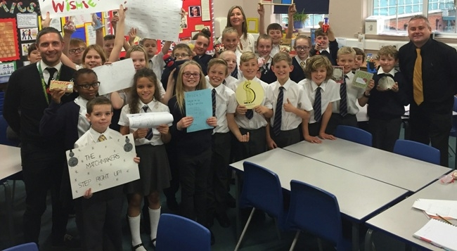Paul Powell pictured at Burton Road Primary School during the iCAN Business Enterprise Challenge 2015
