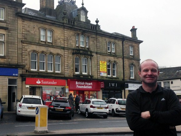 Andrew Mear outside Skipton's High Street House
