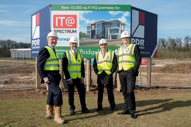 14 March 2016: Office technology business IT@Spectrum and IT and telecoms cmpany The One Point have chosen Bridgehead Business Park for itheir new office location. Pictured at the site are (l-r) Stephen Hudson (Wykeland), Ken Sturdy (IT@Spectrum), Martin Lauer (The One Point), and Paul Dransfield (PDR Construction). Picture: Sean Spencer/Hull News & Pictures Ltd 01482 772651/07976 433960 www.hullnews.co.uk   sean@hullnews.co.uk