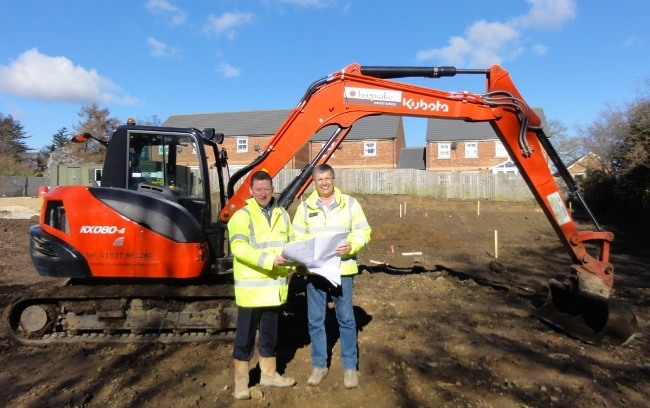 Work starts on £2M new homes development in Ripon Tim Reeve from Advent Developments and Keith Smart from Keepsake Construction