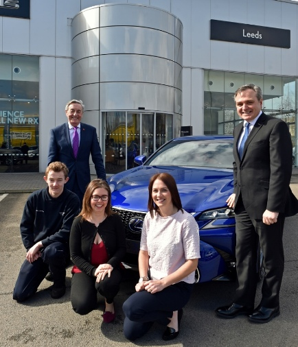 30.3.16 - Leeds. Paul Rose, chairman of The Prince's Trust Yorks & Humberside with Mark Robinson, managing director of Vantage Motor Group (right) and front, from left, Jake Lawreson, Jodie Wilkinson and Amy Mills. Photo: Professional Images/@ProfImages