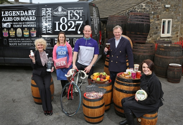 David Boulton, partner at Carter Jonas, and Simon Theakston, executive director of T&R Theakston, with food supporters of the Carter Jonas LandAid Pedalthon (2)