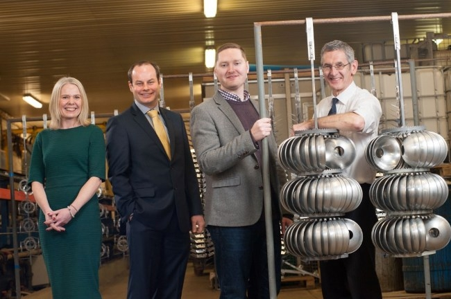 Moss Metal Finishing Limited management buyout. L-R: Emma Greenwood (Shulmans LLP), Michael Cantwell (hlw Keeble Hawson), Andrew Hopkins (new owner) and Philip Hopkins (father)