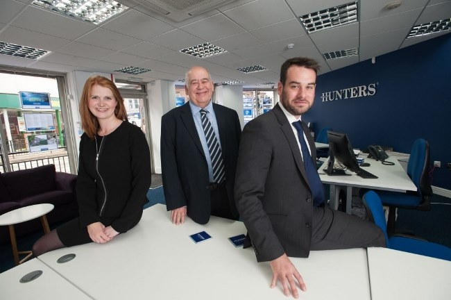 L-R: Clare Darwood (hlw Keeble Hawson), Stuart Goff and son Stephen Goff at the new Hunters branch in Hillsborough.
