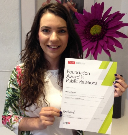 Davina Consoli with her CIPR Certificate