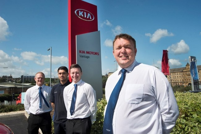 8 August 2016. Vantage Kia, Bradford. Darren Binge, front, with members of his team, from the left, John Leigh, Michael Rider and Joe Ellis.