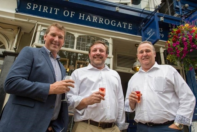 L to R - Matthew Pinsent, Olympic Rower, and Joint Managing Directors at Slingsby Gin Marcus Black & Mike Carthy, Photo Credit Mike Leng