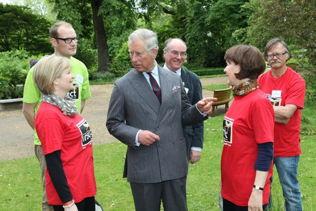 Cicada's Di Burton and Jane Chamberlain with_Luke Tilley Director of Outreach at the Royal Etymological_Society with HRH The Prince of Wales at Clarenc