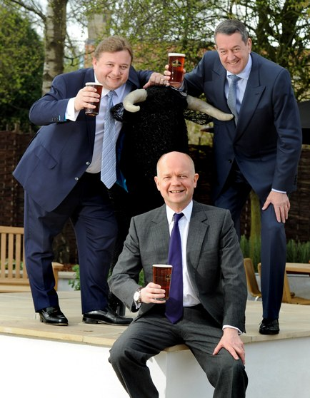 Rt Hon William Hague MP with new owners of The Black Bull Inn, Michael Ibbotson (left) and Chris Blundell (right) (2)