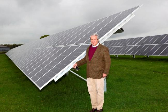 Mark Mackaness with solar panelling at Haggs_Farm on the Rudding Estate