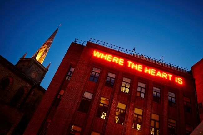 Where the Heart Is by Tim Etchells on Algernon Firth building. Angled #05
