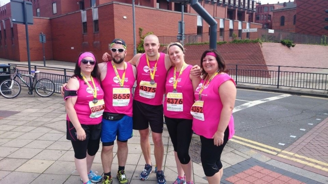 Tracy Horner and family taking part in the recent Leeds 10K helping raise thousands for learning disabilities