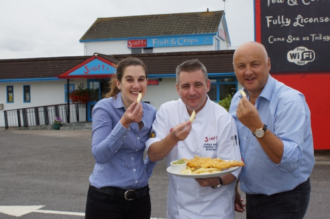 Scotts owner Tony Webster (right) with chef manager Shane White and manager Kerri Clements