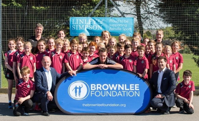 Alistair Brownlee, triathlon medallist, visited Ashville College in Harrogate, to help promote the Linley and Simpson Triathlon. picture mike cowling may 9 2016