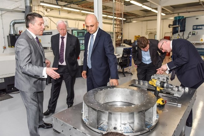 Business Secretary, Sajid Javed meets representives of MetLase at the new building launch. Credit Simon Dewhurst.