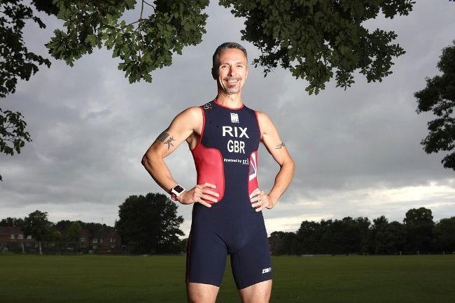 Triathlete Michael Rix pictured as he prepares to race near his home in Pullborough. Michael has recently undergone a hip operation. Picture By Chris Gorman. 07555 419581 14th July 2016.