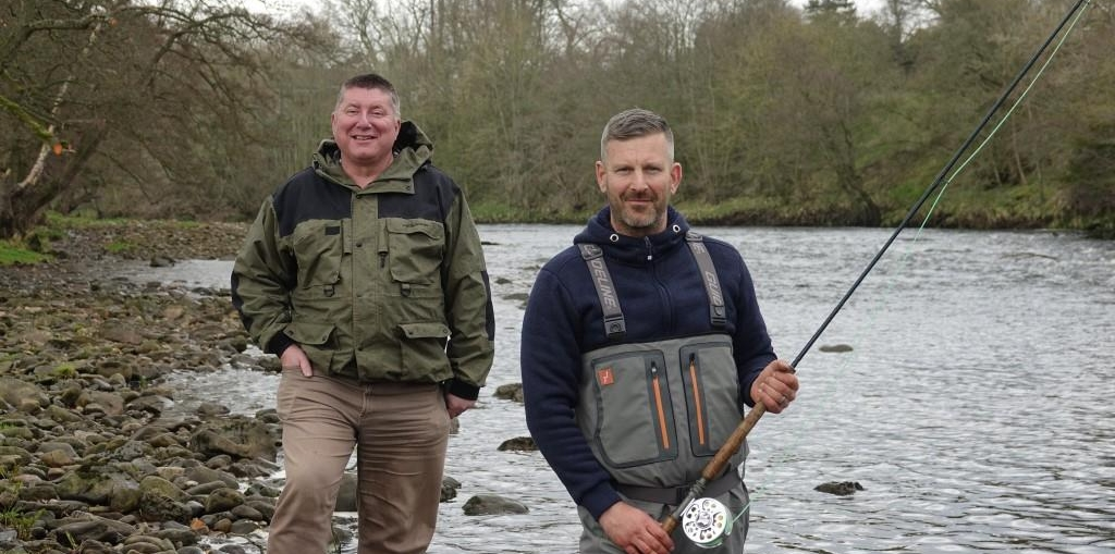 Yorkshire Game Fishing's Philip Ellis, right, with sponsor Stephen Outhwaite from Outhwaite Associates